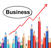 Pencil graph. Set of color pencil showing a graph Stock Photo