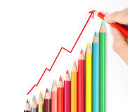 Pencil graph stock market Stock Images