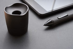Pencil graphics for tablet and holder for it Royalty Free Stock Photo
