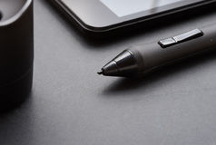 Pencil graphics for tablet and holder for it Stock Image