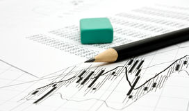 Pencil and green rubber Stock Image