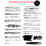 Pencil grunge brushes. Abstract hand drawn art ink strokes Royalty Free Stock Photos