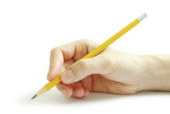 Pencil in hand Stock Photo