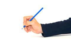 Pencil in hand. Blue pencil in hand on white stock image