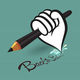 Pencil in hand. Back to school symbol with pencil in hand on green background Stock Image