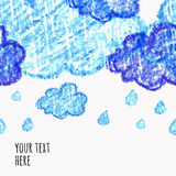 Pencil hand-drawn sketch clouds,  seamless background Royalty Free Stock Photo