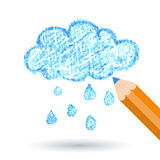 Pencil hand-drawn sketch clouds, vector background template Royalty Free Stock Images