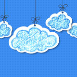 Pencil hand-drawn sketch clouds, vector seamless background Stock Images