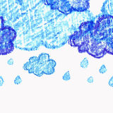 Pencil hand-drawn sketch clouds, vector seamless background. Stock Photo