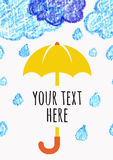 Pencil hand-drawn sketch clouds with yellow umbrella, vector sea Stock Images