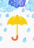 Pencil hand-drawn sketch clouds with yellow umbrella, vector sea Stock Photo