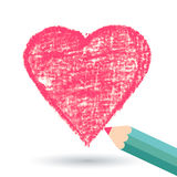 Pencil hand-drawn sketch heart, vector background template Stock Image