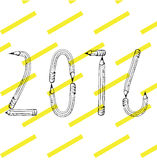 Pencil 2016. Pencil hand drawn 2016 vector on trendy background Stock Images