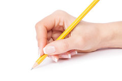 A pencil in a hand Royalty Free Stock Images