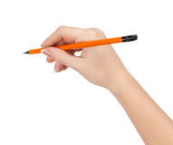 Pencil in hand Stock Images