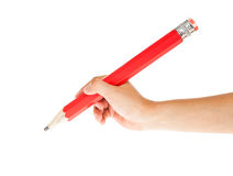 Pencil and hand on white background Stock Photo
