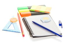 Pencil, handle, elastic band and leaflets Royalty Free Stock Photography