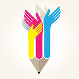 Pencil with hands - educational concept. 2 vector illustration
