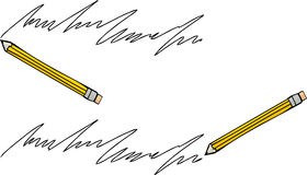 Pencil and Handwriting Royalty Free Stock Photo