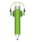 Pencil and headphones illustrations Stock Images