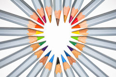 Pencil heart. A heart formed in the points of brightly coloured pencils Stock Images