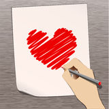 Pencil with heart Royalty Free Stock Photography