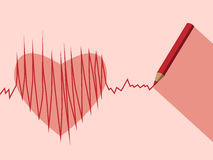 Pencil, heart and ECG Royalty Free Stock Image