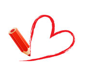 Pencil with heart Stock Photography