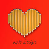 Pencil heart shape  Stock Photos