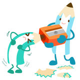 Pencil help his friend for more effectiveness. Illustration Stock Photography