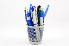 Pencil holder. Office supplies isolated on white Stock Photography