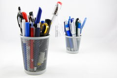 Pencil holder. Office supplies isolated on white Stock Image