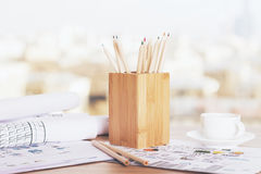 Pencil holder and coffee Stock Photography