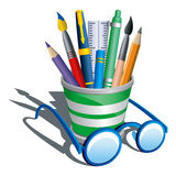 Pencil holder and eye glasses Stock Image