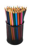 Pencil holder full of pencils Stock Photo