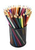 Pencil holder full of pencils Royalty Free Stock Images