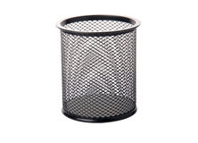 Pencil holder isolated on white Stock Photo