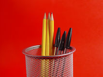 Pencil Holder on Red Stock Photo