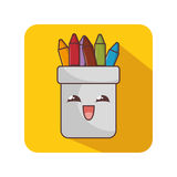 Pencil holders character icon Royalty Free Stock Image