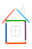Pencil house. House from six color pencils Stock Images