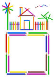 Pencil House. Illustration of a house, garden and a frame made of pencils Royalty Free Stock Photo