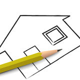 Pencil and House plan Stock Photos