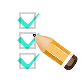 Pencil icon with check boxes isolated Stock Photo