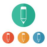 Pencil icon. On colored buttons Royalty Free Stock Photography