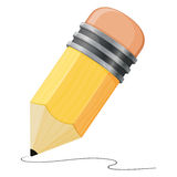 Pencil Icon Drawing. An illustration of a cute pencil icon drawing a line Stock Photo