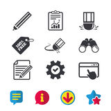 Pencil icon. Edit document file. Eraser sign. Correct drawing symbol. Browser window, Report and Service signs. Binoculars, Information and Download icons Stock Photos