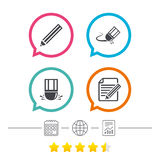 Pencil icon. Edit document file. Eraser sign. Correct drawing symbol. Calendar, internet globe and report linear icons. Star vote ranking. Vector Stock Photo