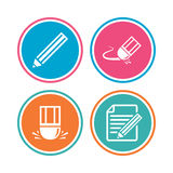 Pencil icon. Edit document file. Eraser sign. Correct drawing symbol. Colored circle buttons. Vector Stock Photo