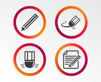 Pencil icon. Edit document file. Eraser sign. Correct drawing symbol. Infographic design buttons. Circle templates. Vector Royalty Free Stock Image