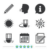 Pencil icon. Edit document file. Eraser sign. Correct drawing symbol. Information, go to web and calendar icons. Sun and loud speak symbol. Vector Royalty Free Stock Photography